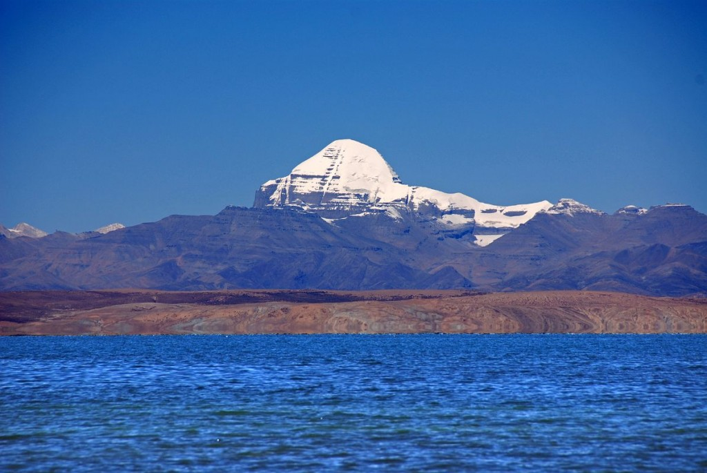 Lake Manasarovar And Mount Kailash From Trugo Gompa